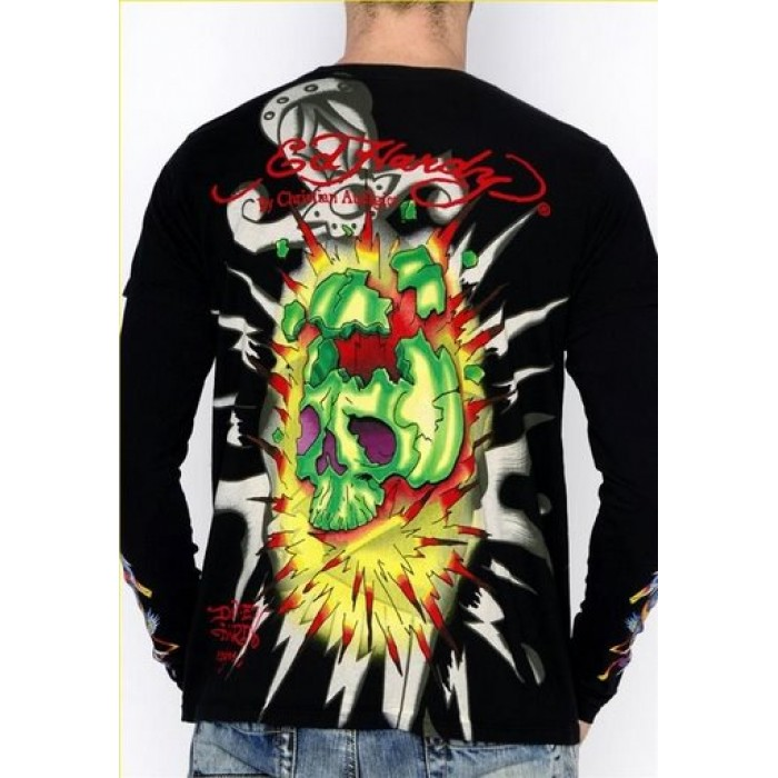 Ed Hardy shop,Mens Exploding Skull Long Sleeve T Shirt in Black