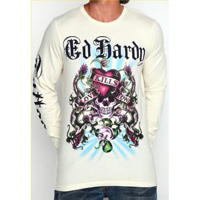 Ed Hardy shop fashion,Mens Love Kills Slowly Dragon LS T Shirt in White