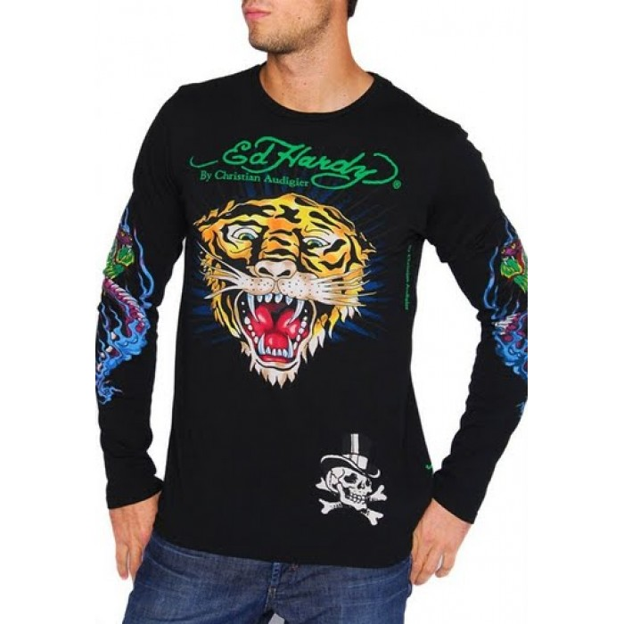 Ed Hardy Save up to,Mens EH Tiger Long Sleeve T Shirt in Black
