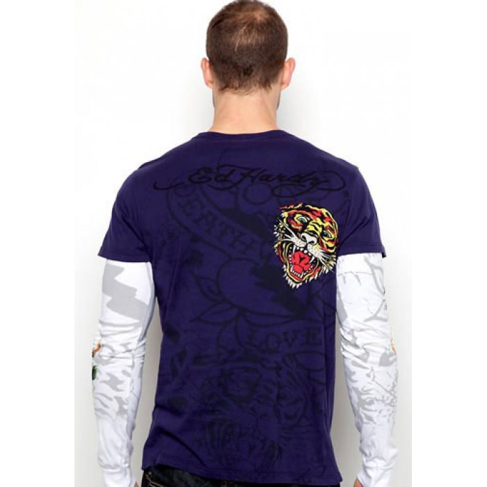 Ed Hardy timeless,Death Of Love Platinum Double Sleeve T Shirt