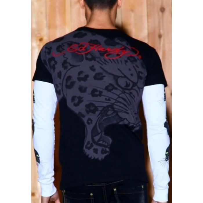 Ed Hardy Sport,Panther Specialty Double Sleeve T Shirt black