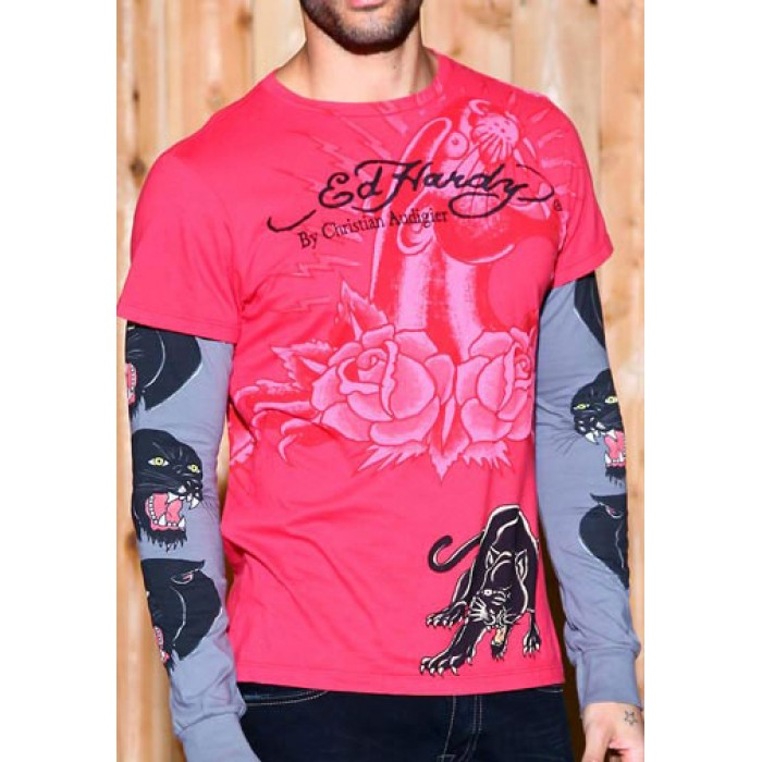 Ed Hardy size guide,Panther Specialty Double Sleeve T Shirt red