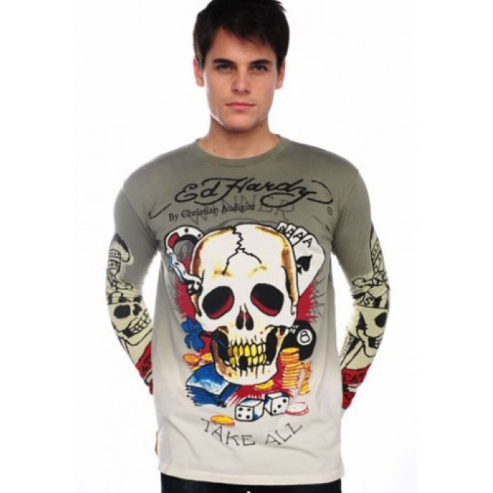 Ed Hardy uk com,Winner Take All Skull Dip Dye T Shirt