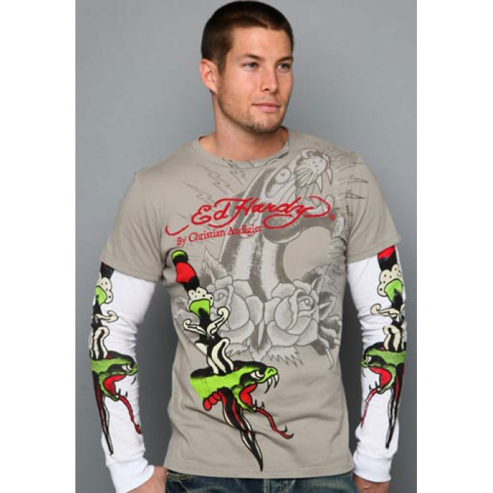 Ed Hardy stores,Snake Dagger Specialty Double Sleeve olive