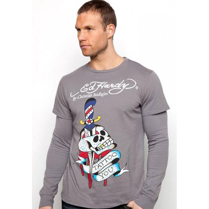 Ed Hardy stable quality,Tattoo You Basic Double Sleeve T Shirt charcoal