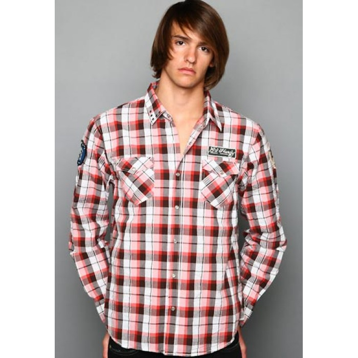 ed hardy sale Cheap,Big Plaid Studded And Embroidered Shirt