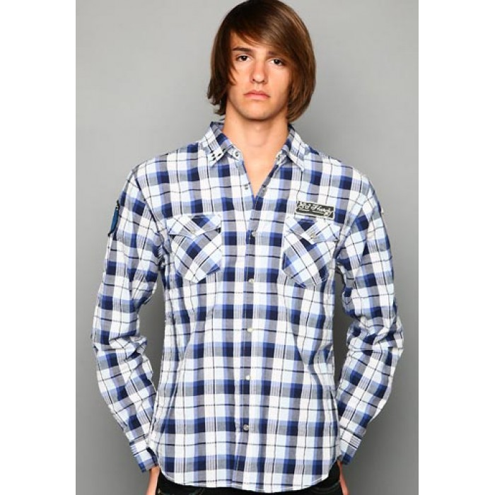 ed hardy Outlet Store Online,Big Plaid Studded And Embroidered Shirt