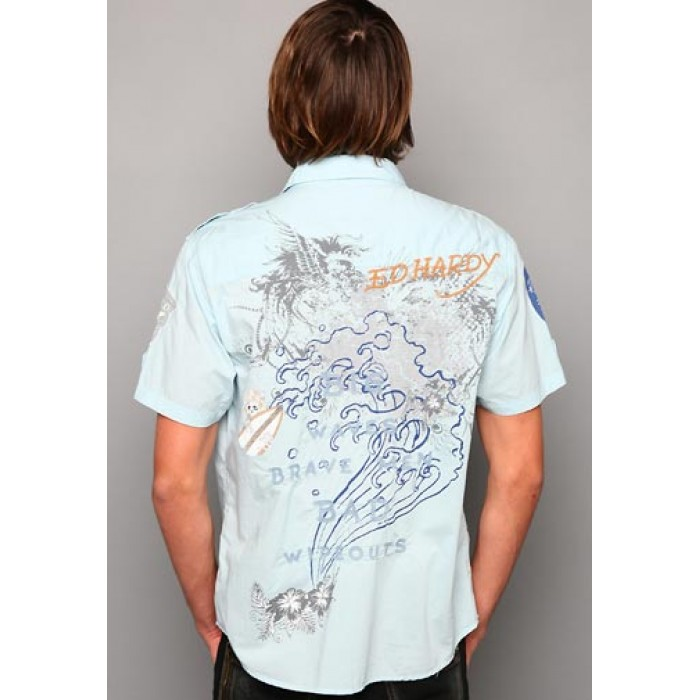 ed hardy promo codes,Big Wave Embroidered Applique Shirt