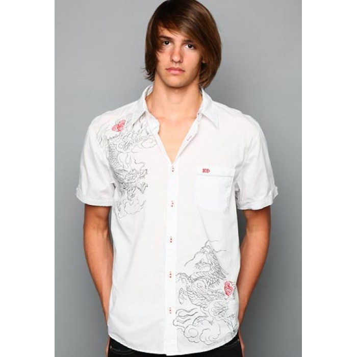 ed hardy outlet shop online,Chinese Dragon Foiled Embroidered Shirt