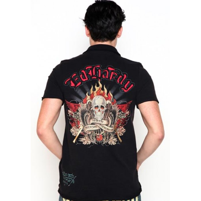 ed hardy reputable site,Death Before Dishonor Rhinestone Polo