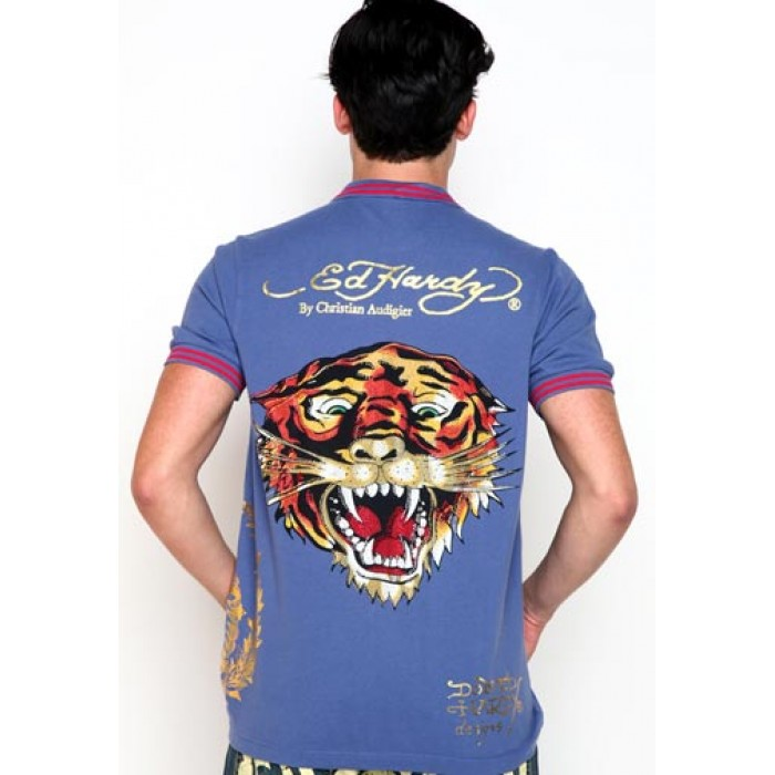 ed hardy outlet stores online,EH Tiger Rhinestone Applique Polo