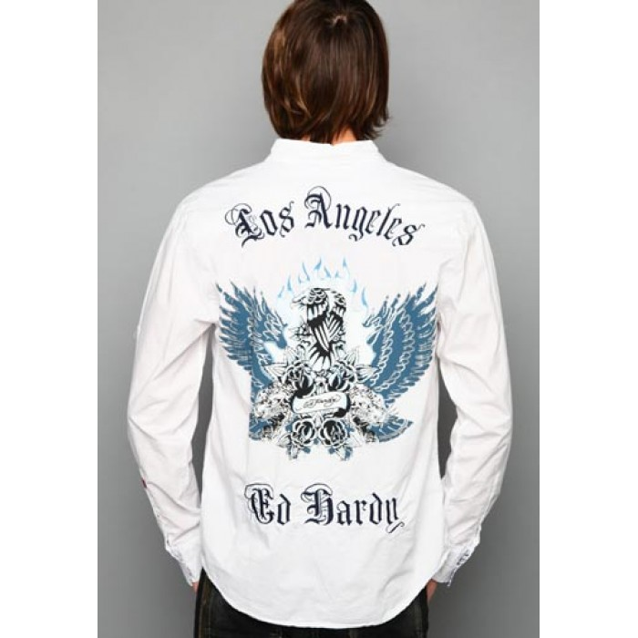 ed hardy reliable quality,Eagle And Tigers Embroidered Shirt