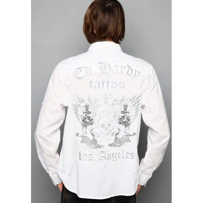 ed hardy s on sale,Love Kills Slowly Skull Wing Embroidered Shirt