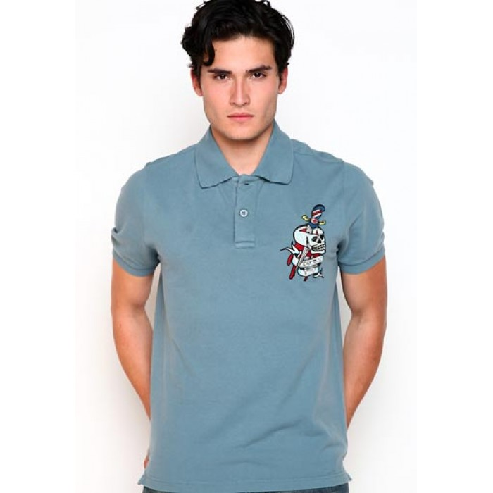 ed hardy primark online shop,Pierced Skull Basic Embroidered Polo