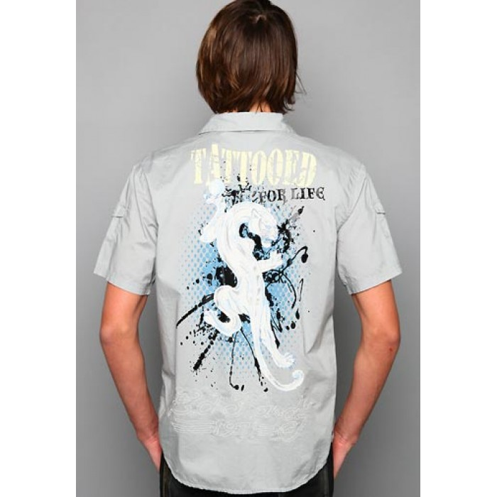 ed hardy Retailer,White Tiger Rope Embroidery Shirt