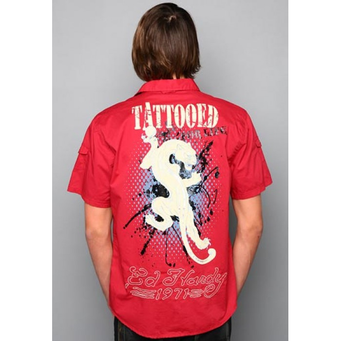 ed hardy reliable reputation,White Tiger Rope Embroidery Shirt
