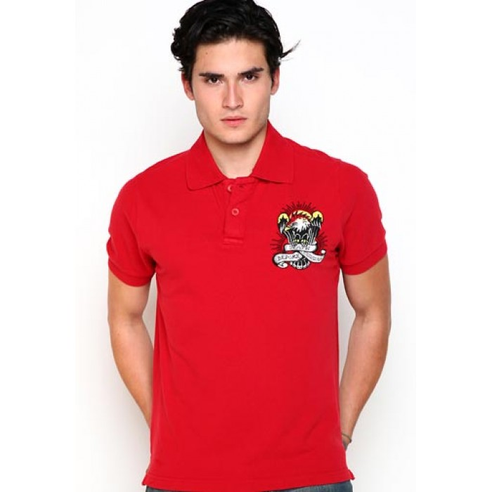 ed hardy sale,Death Before Dishonor Basic Embroidered Polo