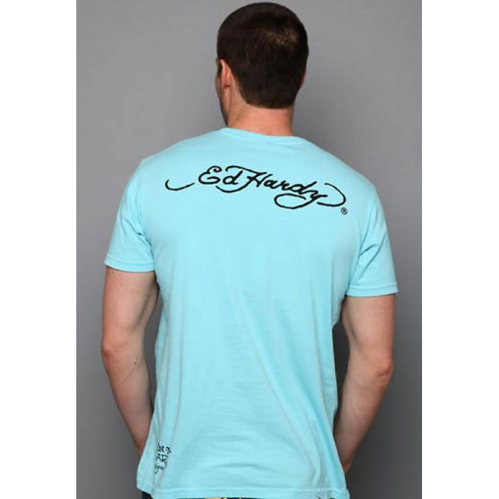 Ed Hardy canada outlet sale,Surfing Ace Basic Tee light blue
