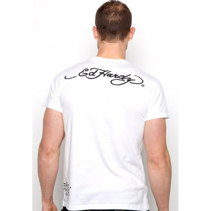 America Ed Hardy,Surfing Panther Basic Tee off white