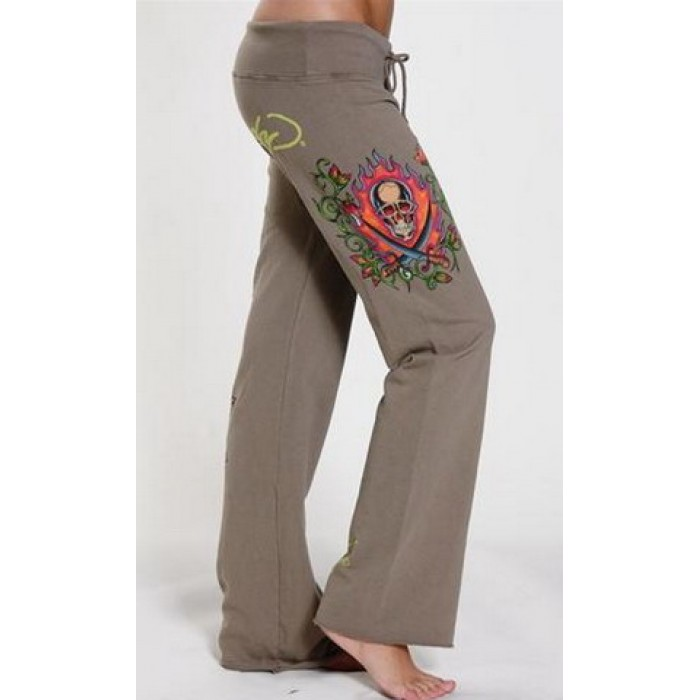 ED Hardy Drawstring Lounge Pants Two Swords in Brown