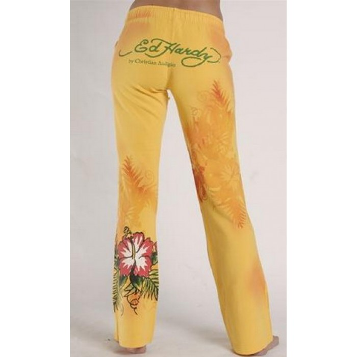 ED Hardy Drawstring Lounge Pants Flowers in Yellow
