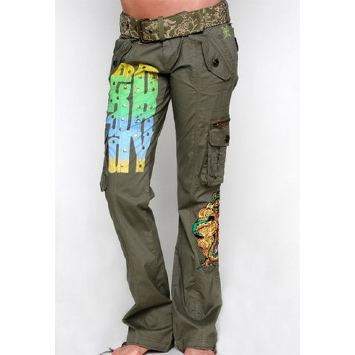 ED Hardy Medusa Bootcut Cargo Pants in Olive