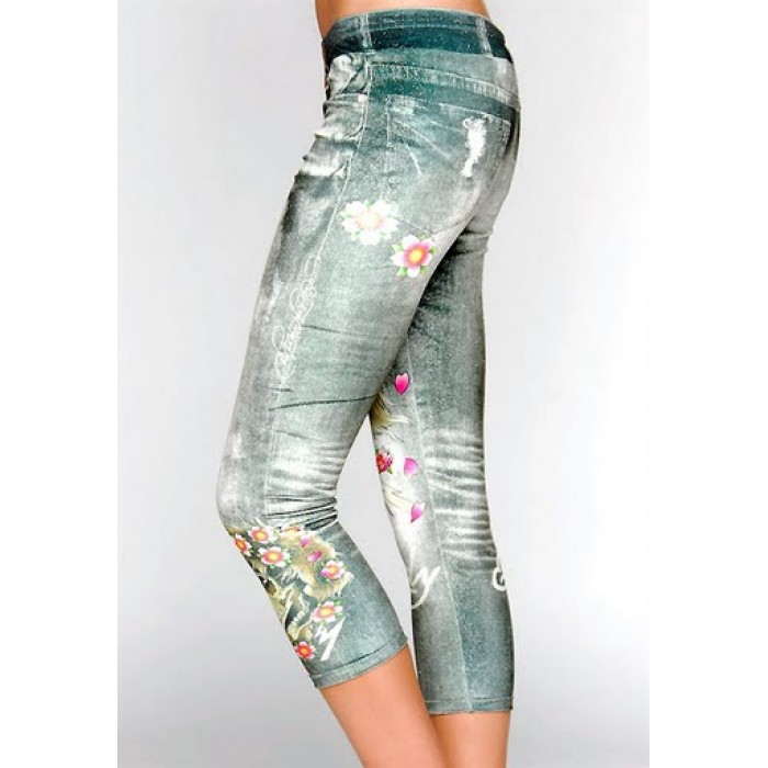 ED Hardy Beautiful Ghost Platinum Velour Fashion Leggings in Green