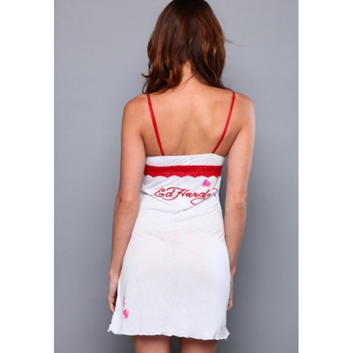 Ed Hardy Womens Dotted Halter Dress in White
