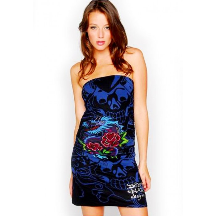Ed Hardy Dragon Rose All Over Print Foiled Rhinestoned Straples