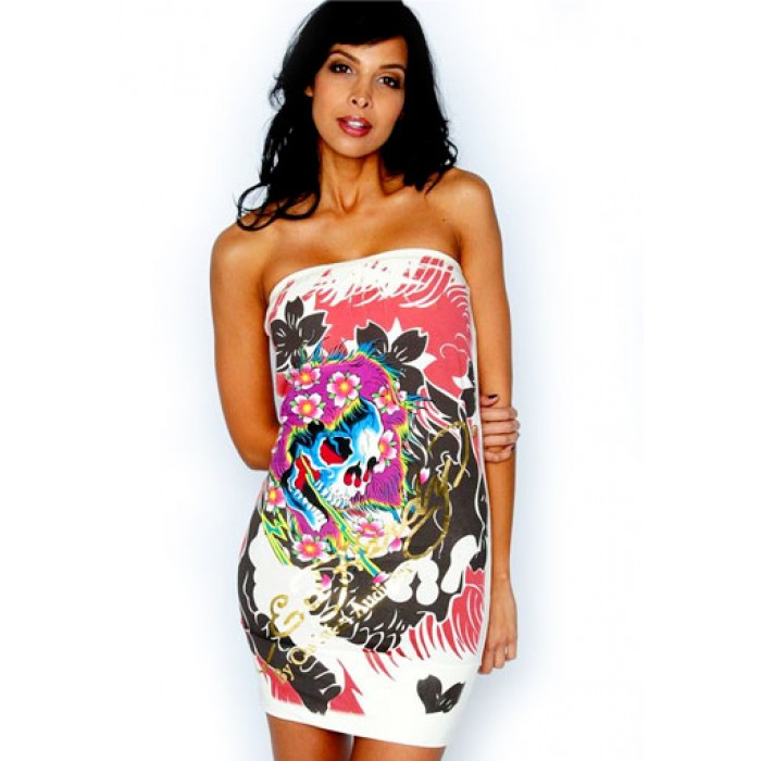 Women's Beautiful Ghost All Over Print Strapless dress in White