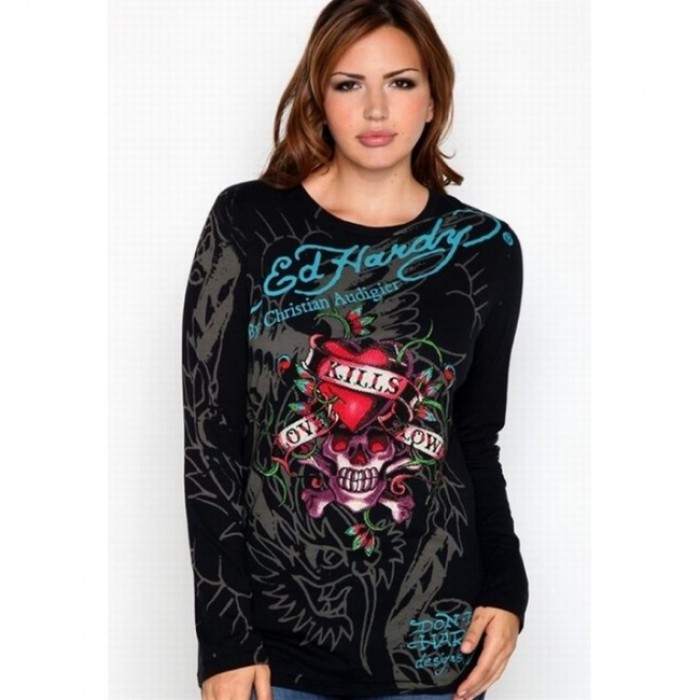 Ed Hardy pretty and colorful,ED Hardy Womens Long Sleeve T Shirt