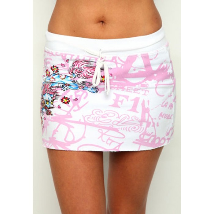 Ed Hardy Womens Skirt White pink