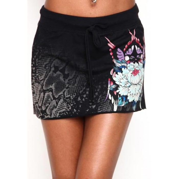 Ed Hardy Womens Flower And Butterfly Specialty Skirt