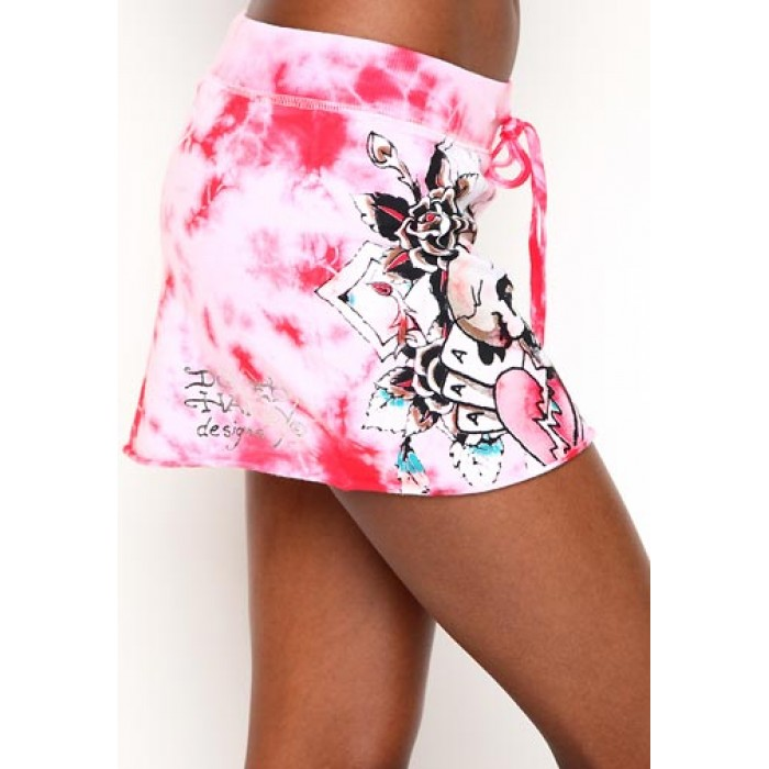 Ed Hardy Womens Skull Heart And Cards Specialty Skirt