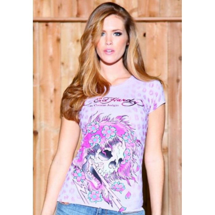 delicate colors Ed Hardy,Beautiful Ghost Specialty Tee Pink