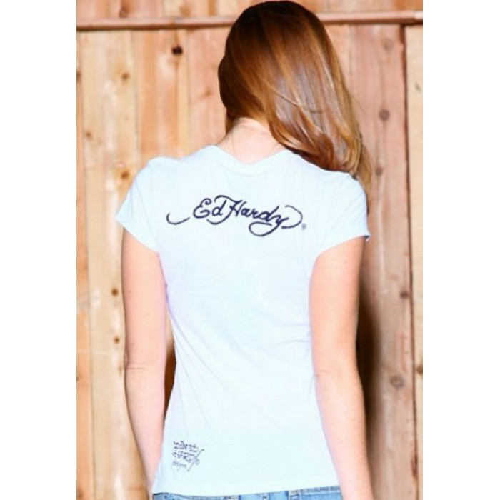 Low Price Guarantee Ed Hardy,Eagle Rose Basic Tee White
