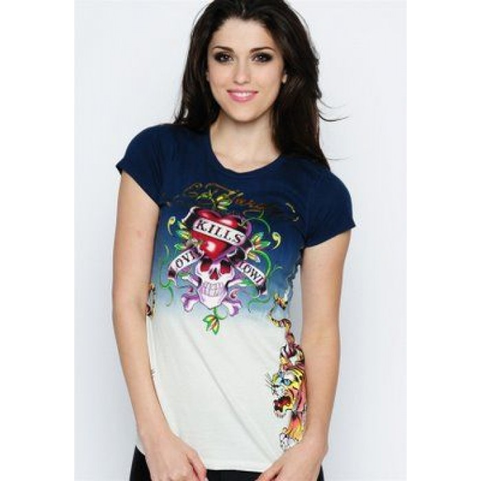 Ed Hardy Womens Short sleeves T-Shirts NEW 017