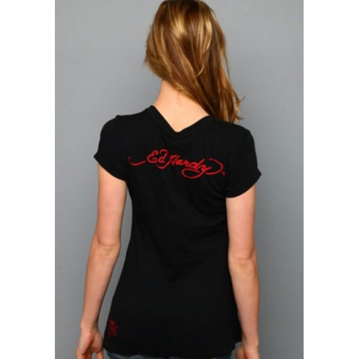 Ed Hardy UK official online shop,Geisha Parasol Platinum Tee Black