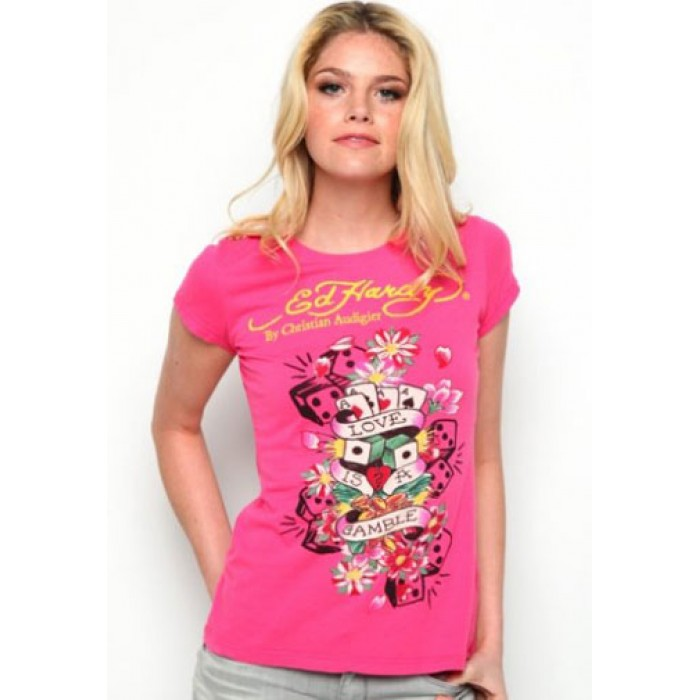 Ed Hardy Style,Love Is A Gamble Flowers Basic Tee Pink