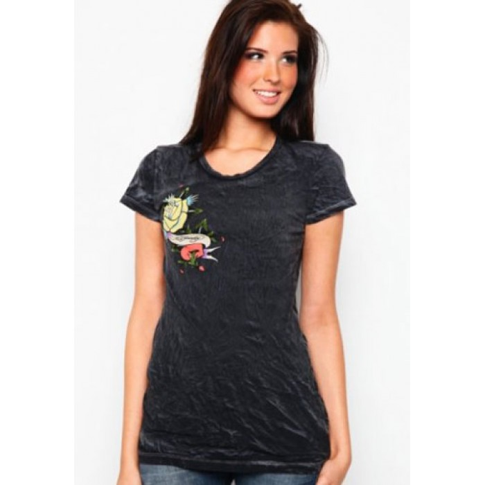 authorized dealers Ed Hardy,Rose And Heart Vintage Wash Tee