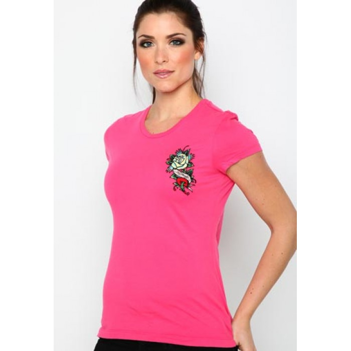 Best Selling Clearance,Rose Heart Core Basic Embroidered Tee