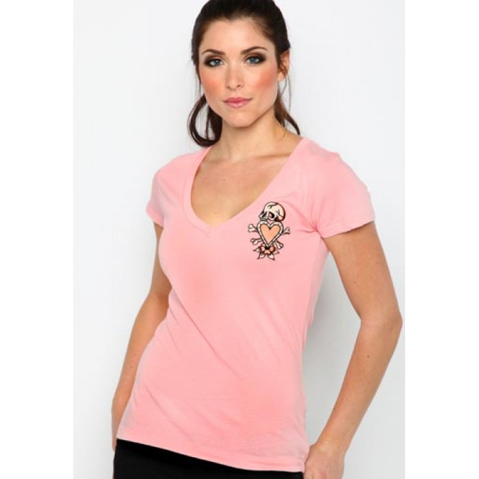 Ed Hardy locations,Skull in Love Core Basic Embroidered Tee