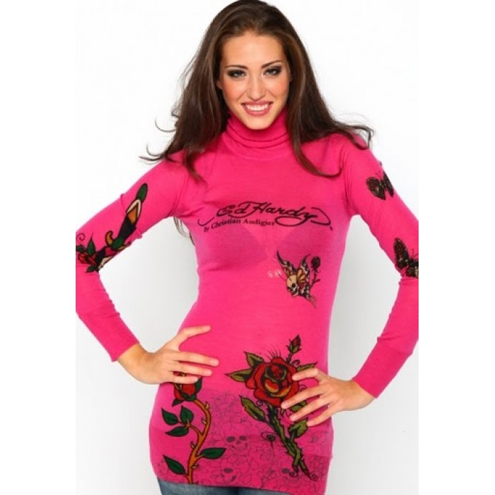 Ed Hardy Rose Tiger Butterfly Long Sleeve T-Shirt in DeepPink