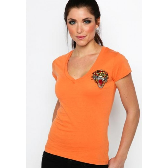 Ed Hardy ladies,Tiger Core Basic Embroidered Tee