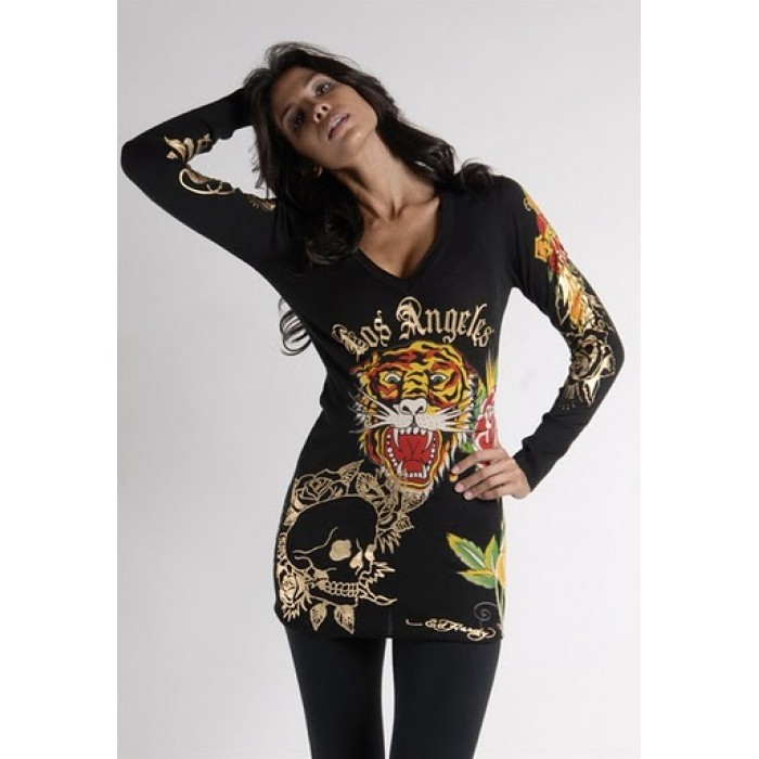 Ed Hardy Tiger Rose Long Sleeve T-Shirt in Black