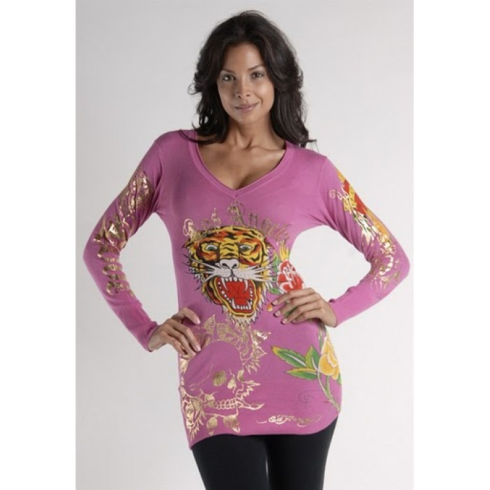 Ed Hardy Tiger Rose Long Sleeve T-Shirt in HotPink