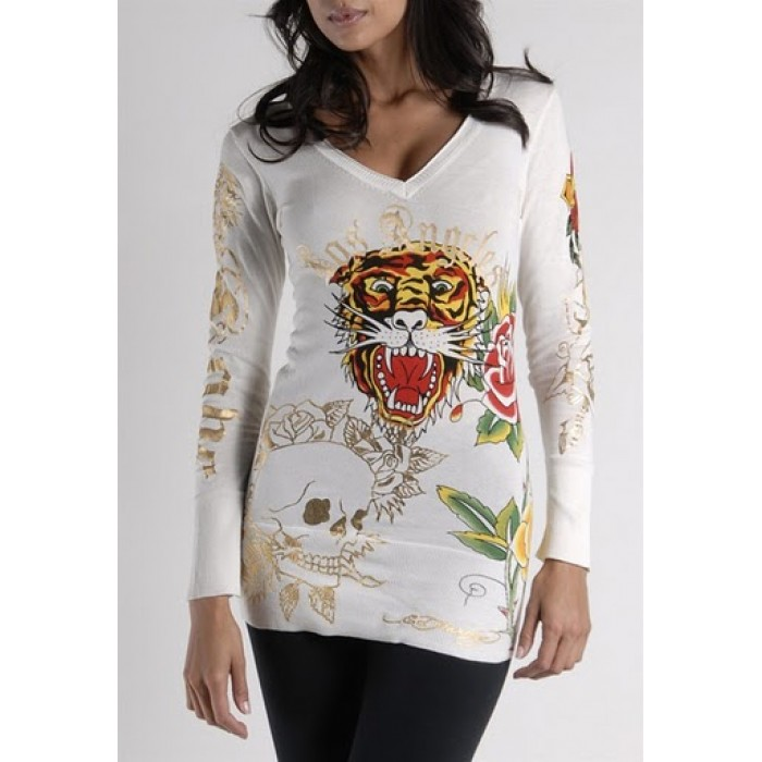 Ed Hardy Tiger Rose Long Sleeve T-Shirt in White