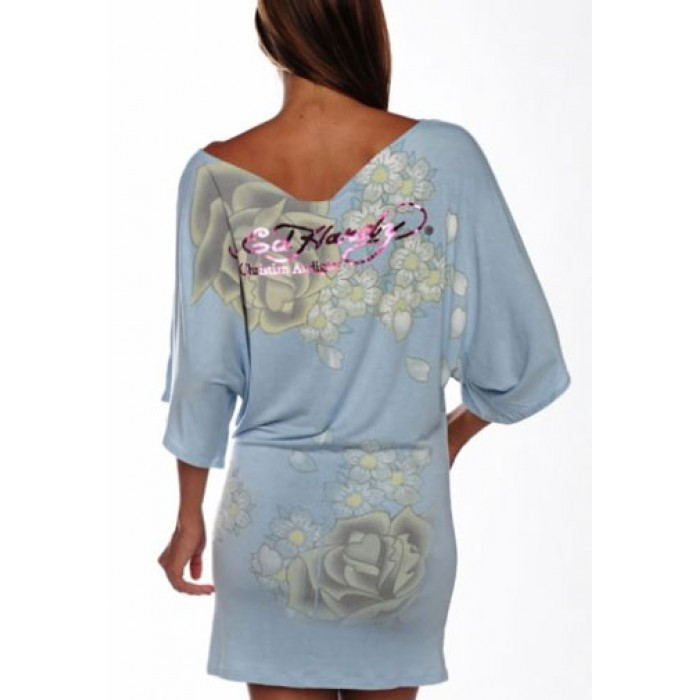 Ed Hardy high-end,Two Roses Platinum Butterfly Sleeve Tunic