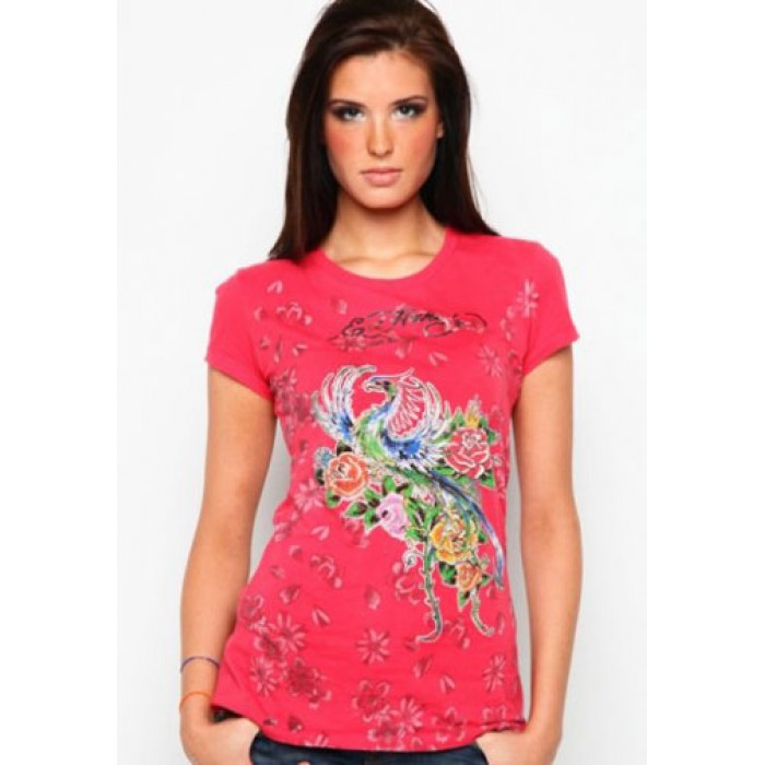 new collection Ed Hardy,Firebird And Roses Metallic Ink Platinum Tee